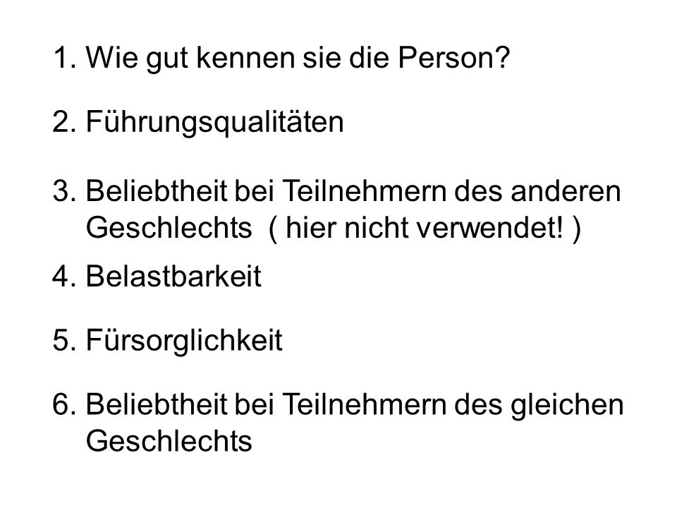 1. Wie gut kennen sie die Person