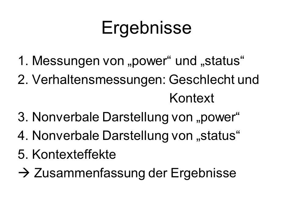 """Ergebnisse 1. Messungen von """"power und """"status"""