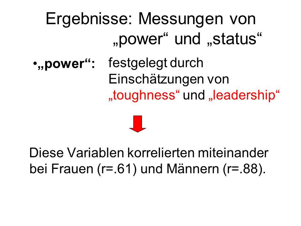 """Ergebnisse: Messungen von """"power und """"status"""