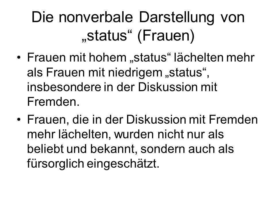 """Die nonverbale Darstellung von """"status (Frauen)"""