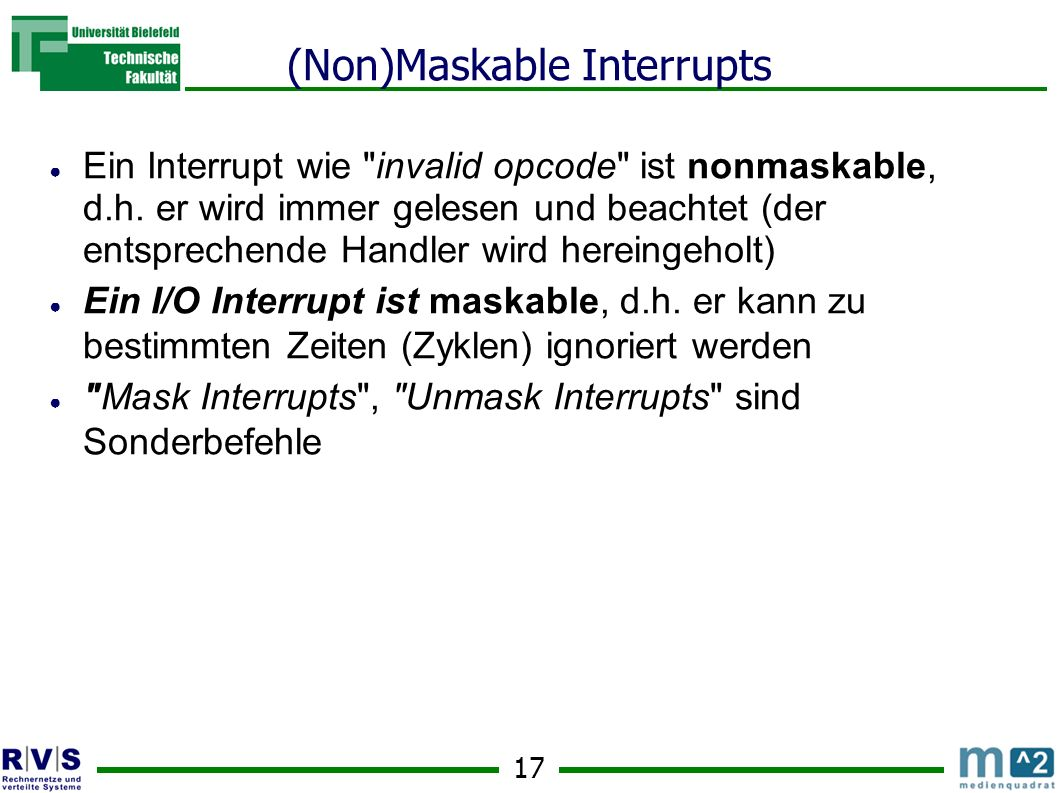 (Non)Maskable Interrupts