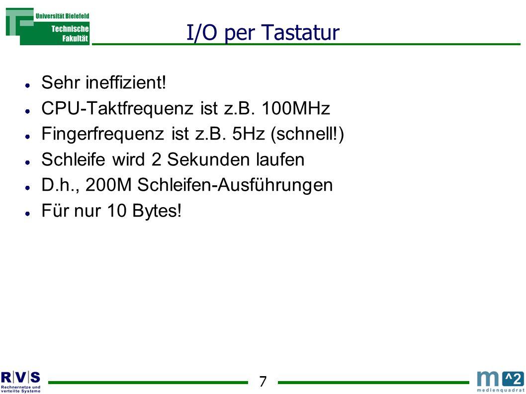 I/O per Tastatur Sehr ineffizient! CPU-Taktfrequenz ist z.B. 100MHz