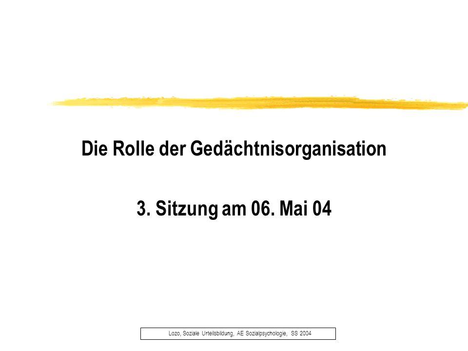 Die Rolle der Gedächtnisorganisation 3. Sitzung am 06. Mai 04