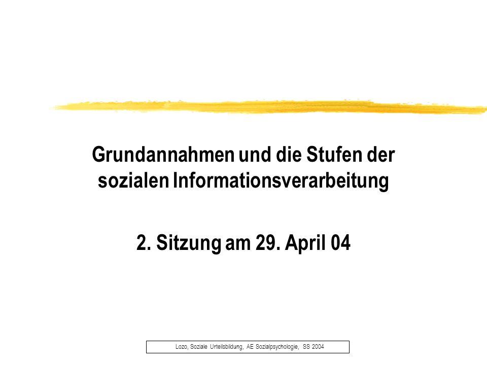 Grundannahmen und die Stufen der sozialen Informationsverarbeitung