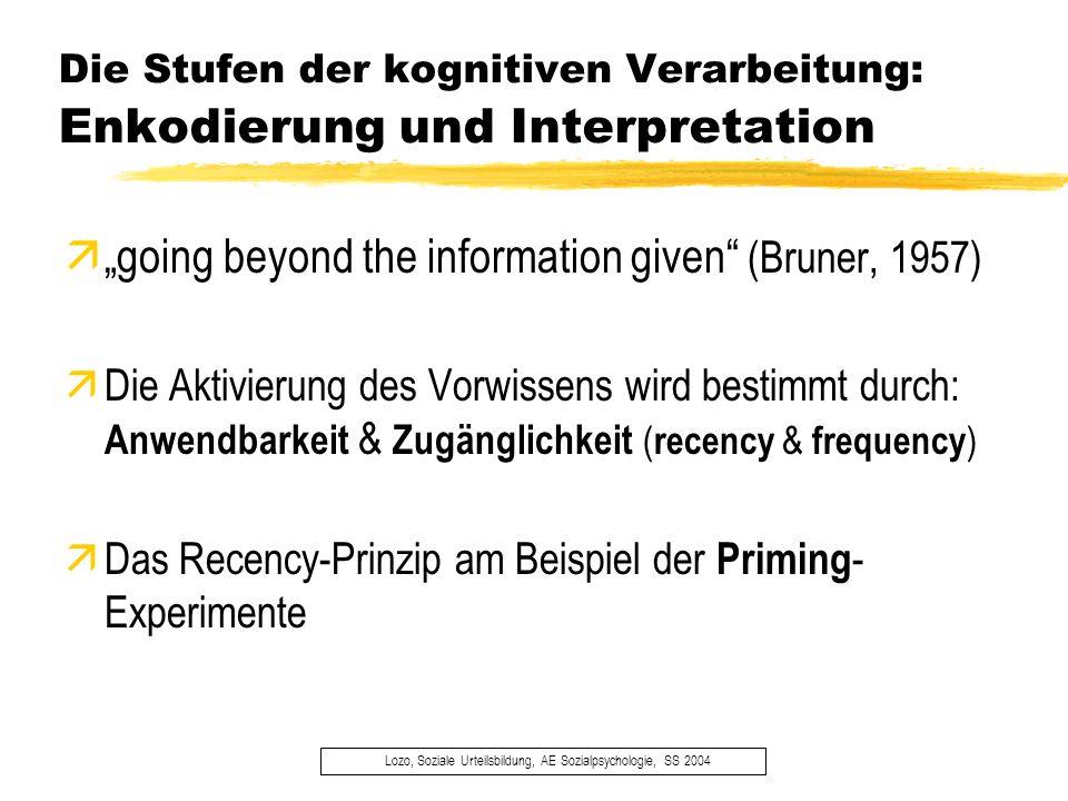 Die Stufen der kognitiven Verarbeitung: Enkodierung und Interpretation