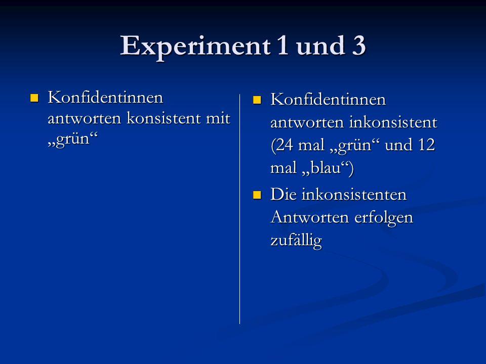 """Experiment 1 und 3 Konfidentinnen antworten konsistent mit """"grün"""