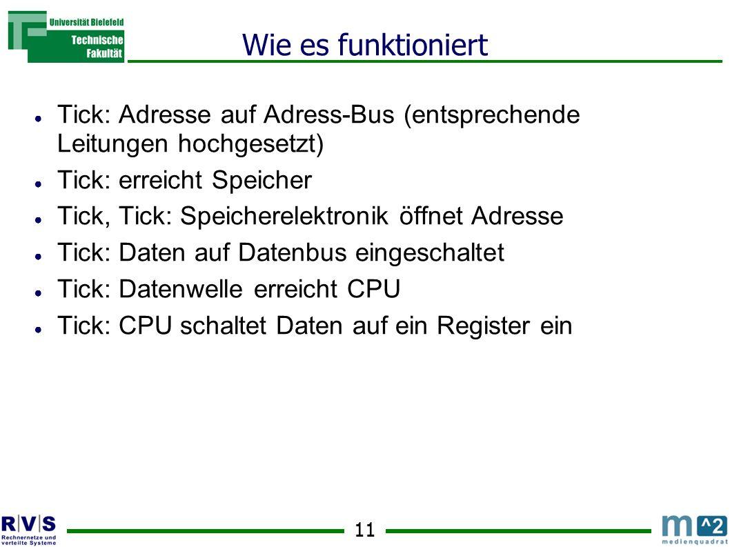 Wie es funktioniert Tick: Adresse auf Adress-Bus (entsprechende Leitungen hochgesetzt) Tick: erreicht Speicher.
