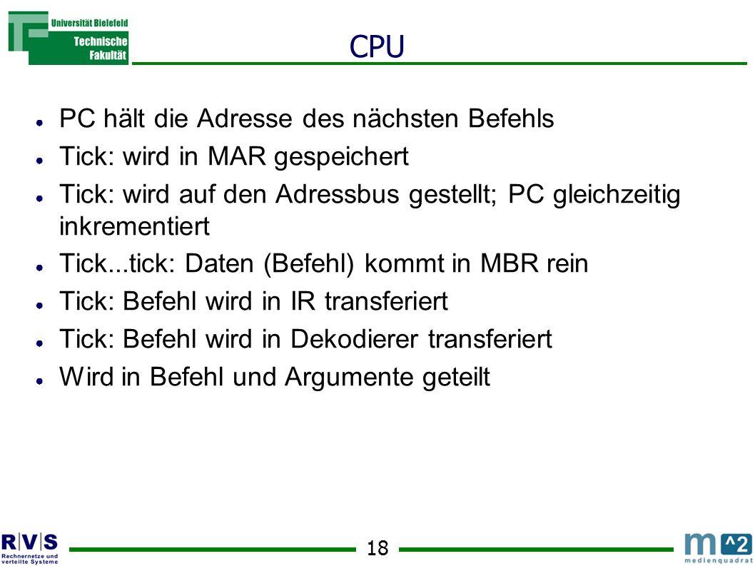 CPU PC hält die Adresse des nächsten Befehls