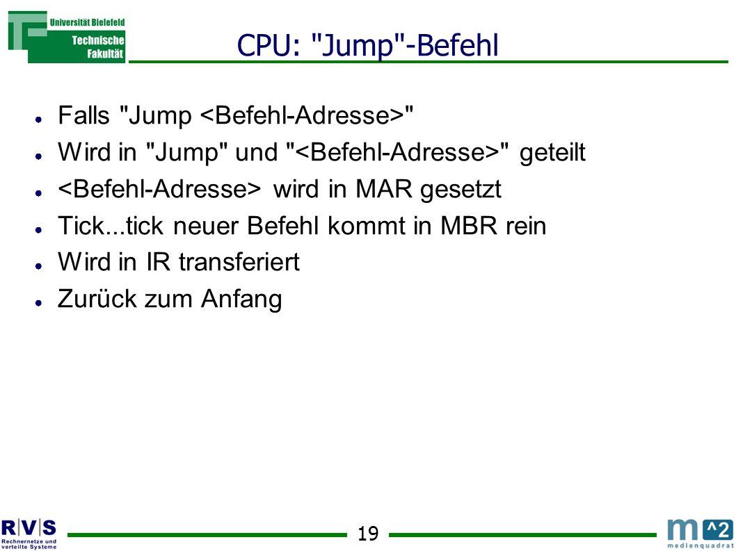 CPU: Jump -Befehl Falls Jump <Befehl-Adresse>