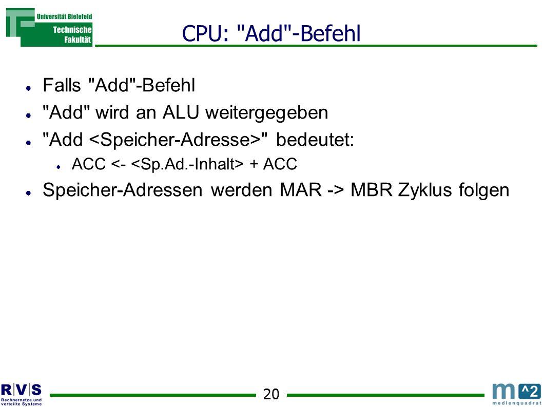 CPU: Add -Befehl Falls Add -Befehl Add wird an ALU weitergegeben