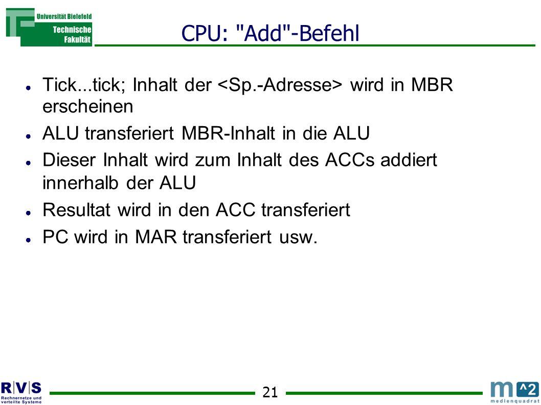 CPU: Add -Befehl Tick...tick; Inhalt der <Sp.-Adresse> wird in MBR erscheinen. ALU transferiert MBR-Inhalt in die ALU.