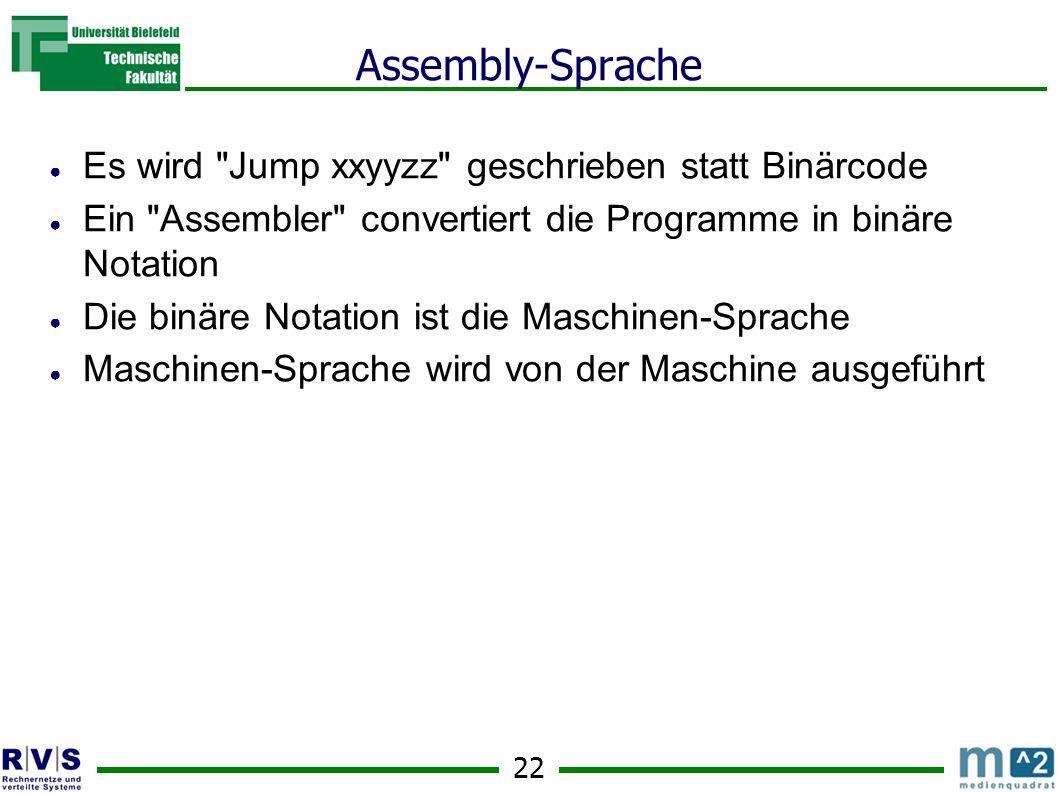 Assembly-Sprache Es wird Jump xxyyzz geschrieben statt Binärcode