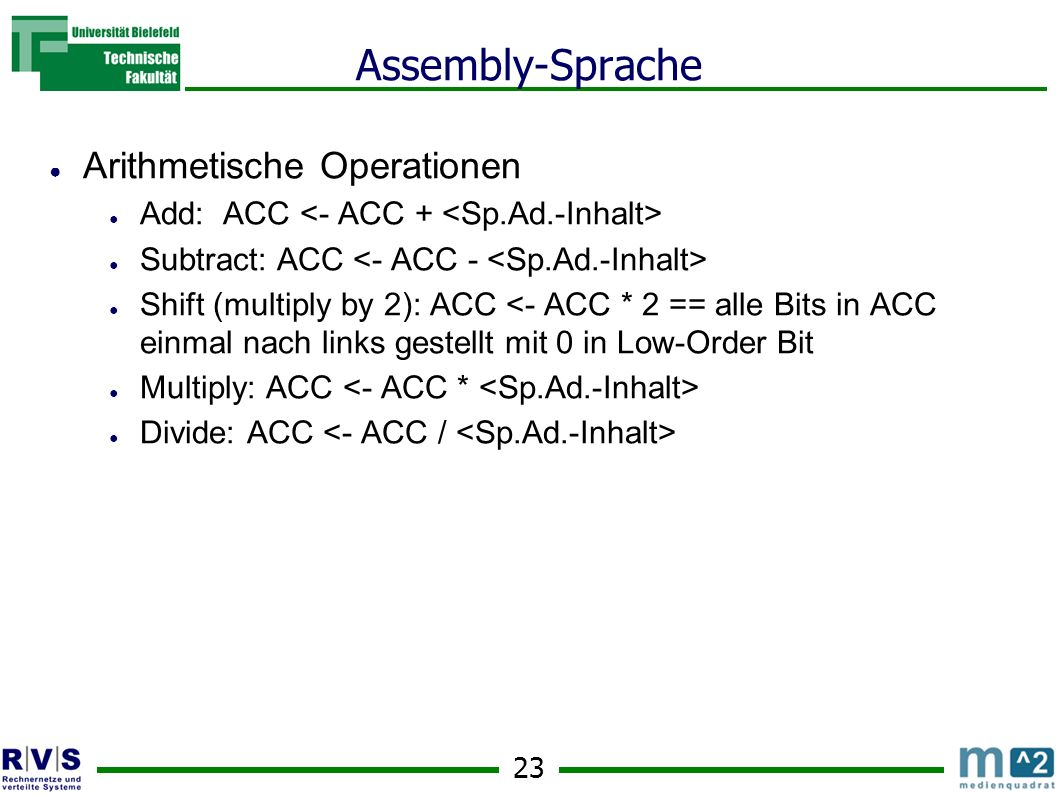 Assembly-Sprache Arithmetische Operationen