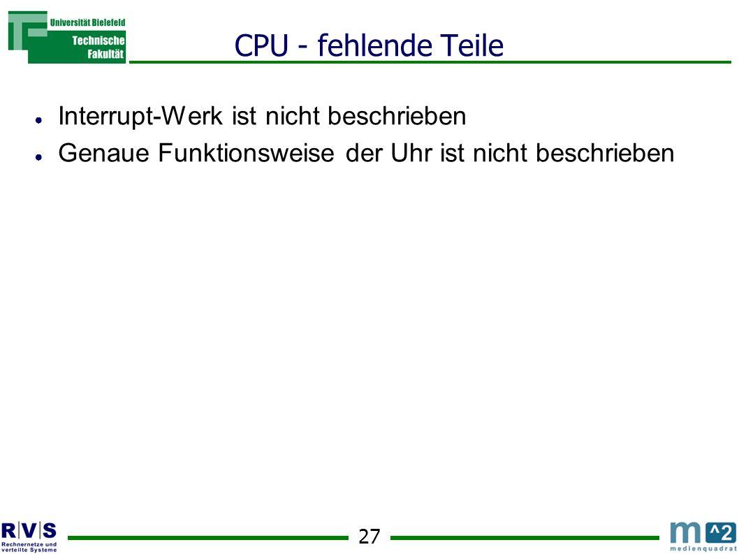 CPU - fehlende Teile Interrupt-Werk ist nicht beschrieben