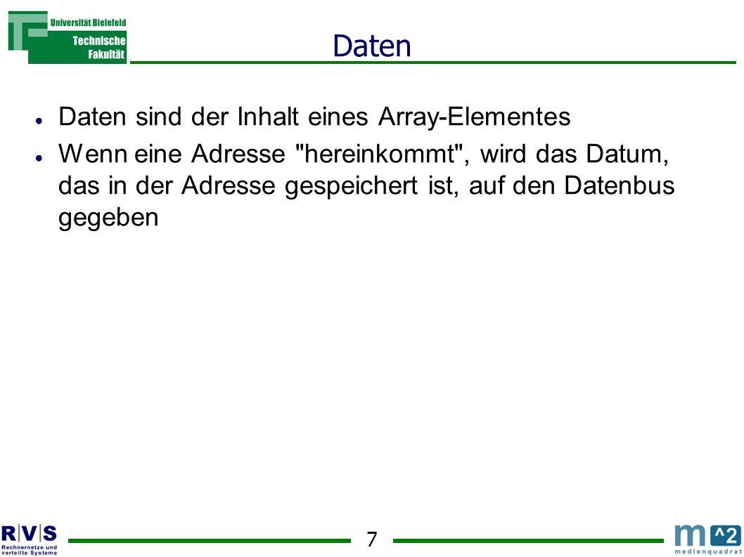 Daten Daten sind der Inhalt eines Array-Elementes