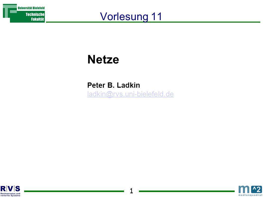 Netze Vorlesung 11 Peter B. Ladkin ladkin@rvs.uni-bielefeld.de