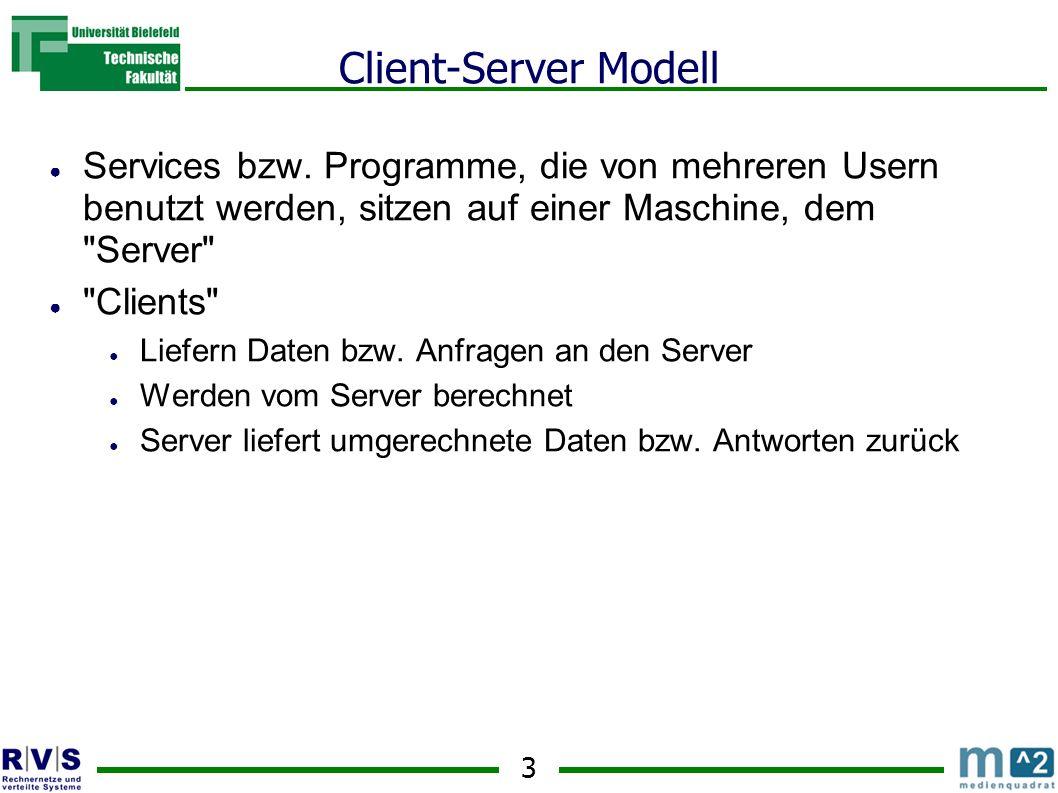 Client-Server Modell Services bzw. Programme, die von mehreren Usern benutzt werden, sitzen auf einer Maschine, dem Server