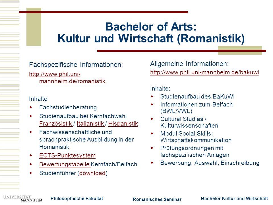 Bachelor of Arts: Kultur und Wirtschaft (Romanistik)