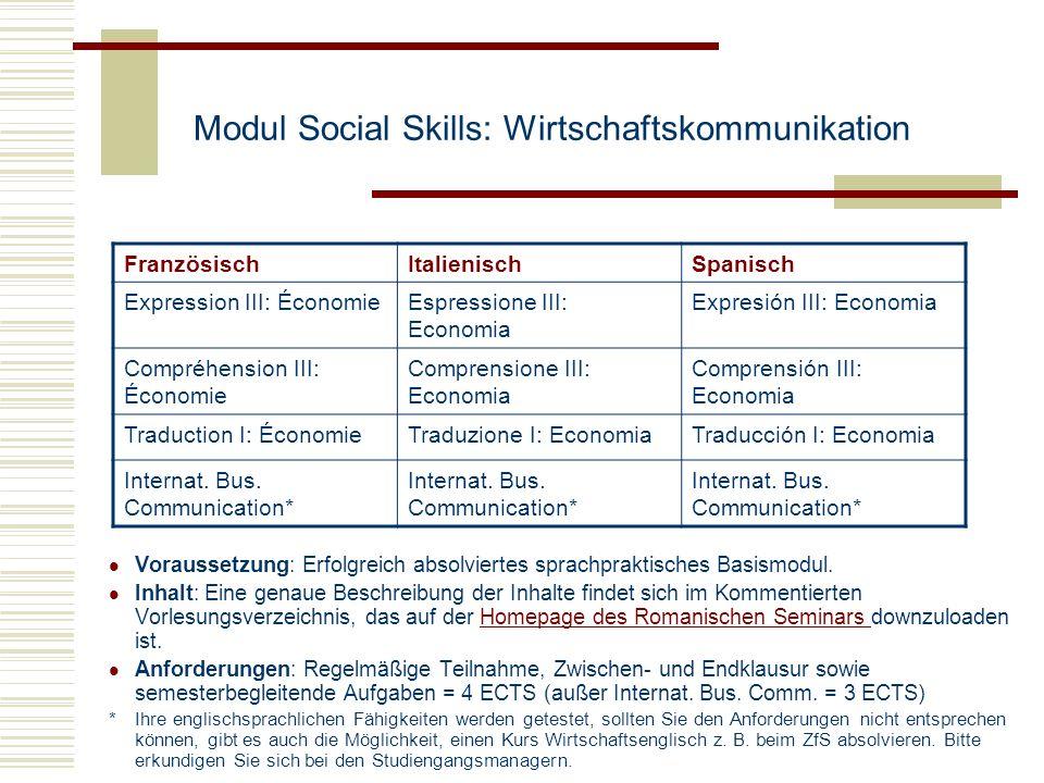 Modul Social Skills: Wirtschaftskommunikation