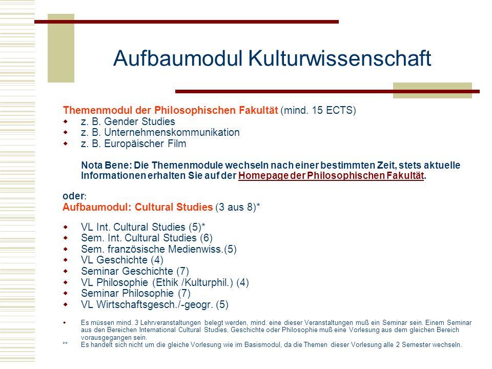 Aufbaumodul Kulturwissenschaft
