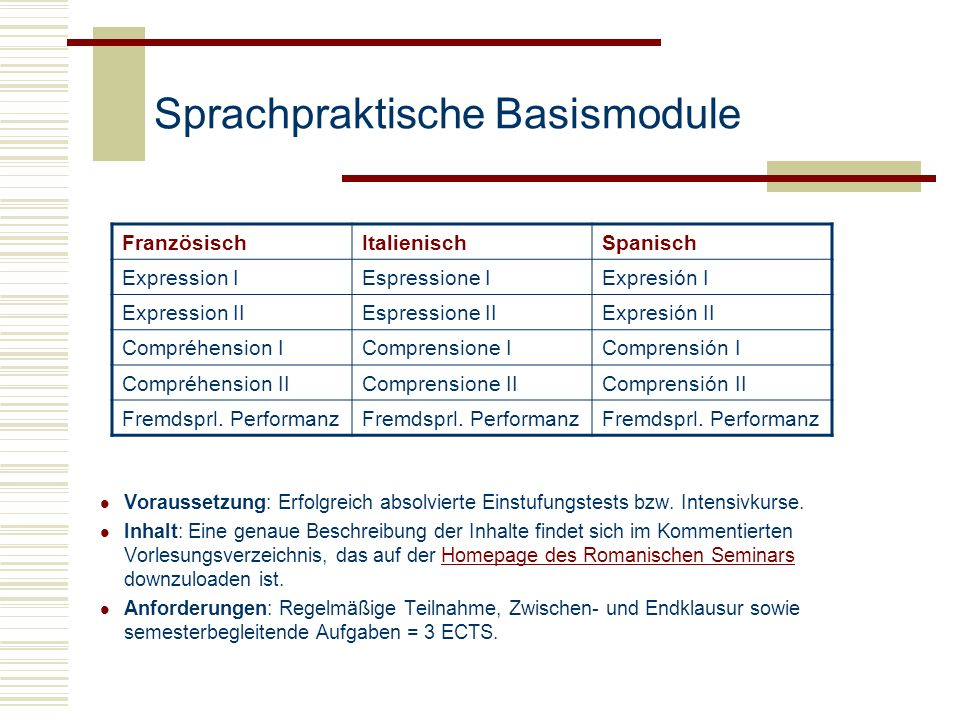 Sprachpraktische Basismodule