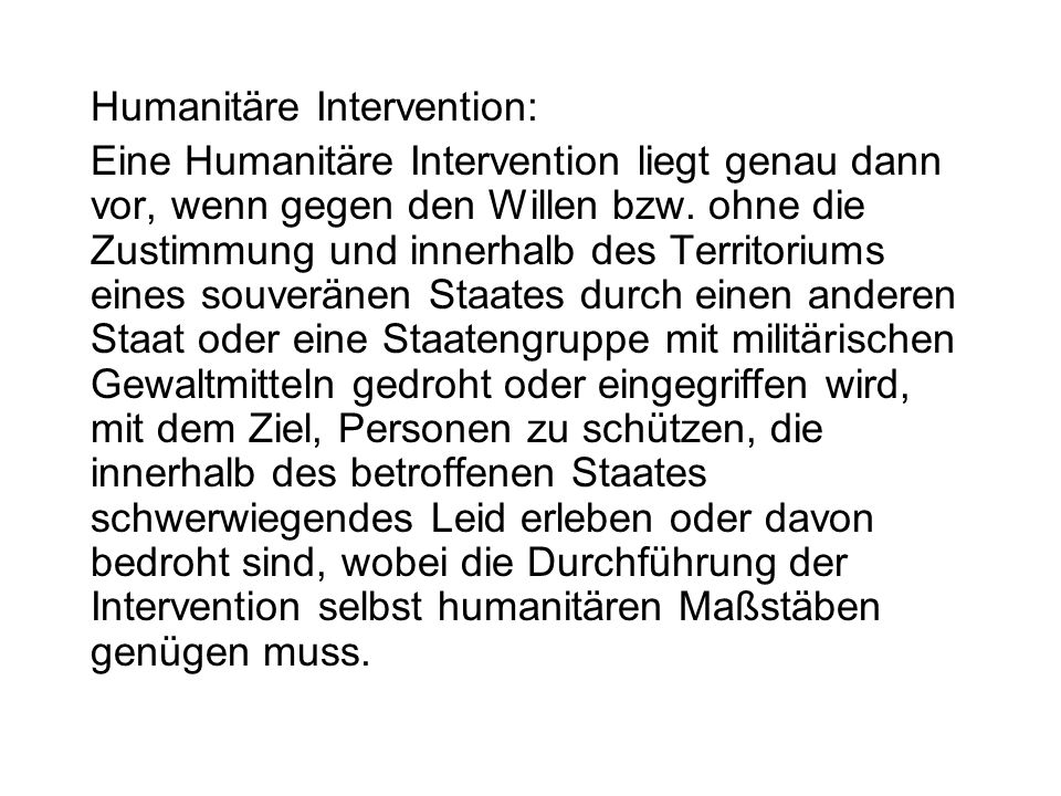 Humanitäre Intervention: