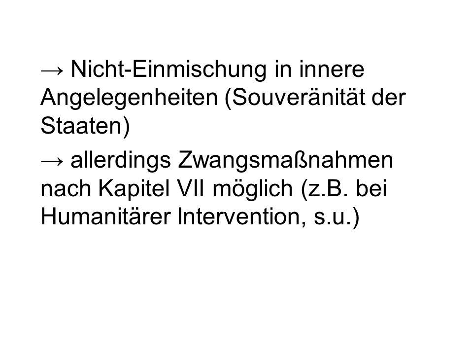 → Nicht-Einmischung in innere Angelegenheiten (Souveränität der Staaten)