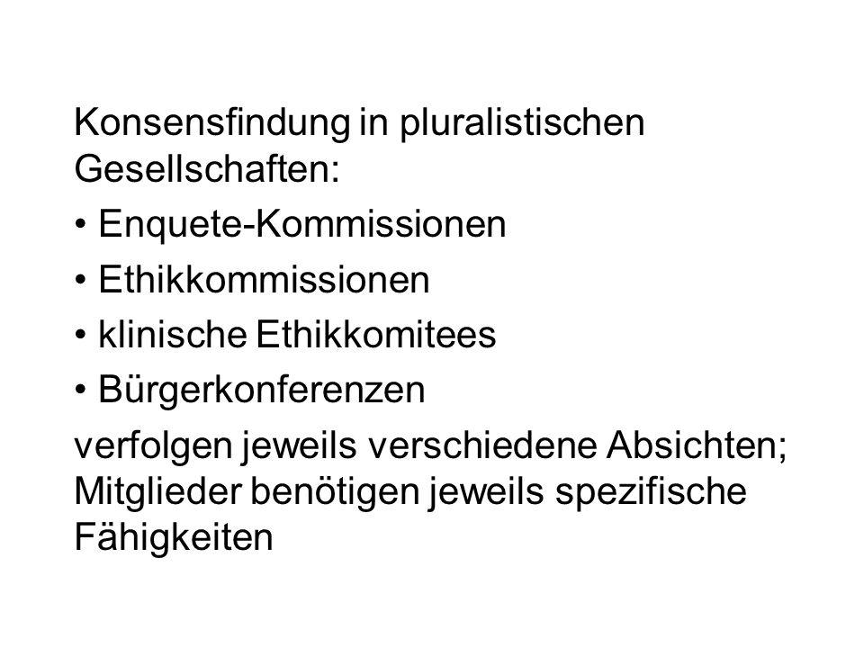 Konsensfindung in pluralistischen Gesellschaften: