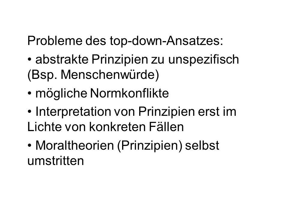 Probleme des top-down-Ansatzes: