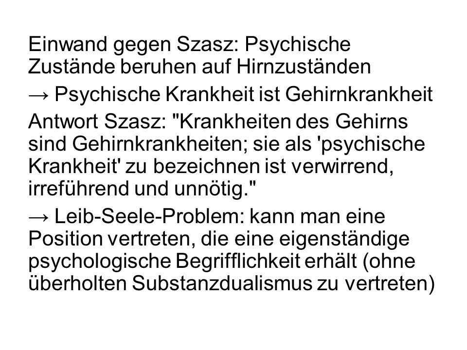 Einwand gegen Szasz: Psychische Zustände beruhen auf Hirnzuständen