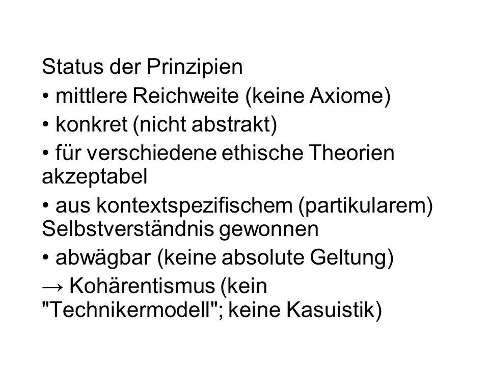 Status der Prinzipien mittlere Reichweite (keine Axiome) konkret (nicht abstrakt) für verschiedene ethische Theorien akzeptabel.