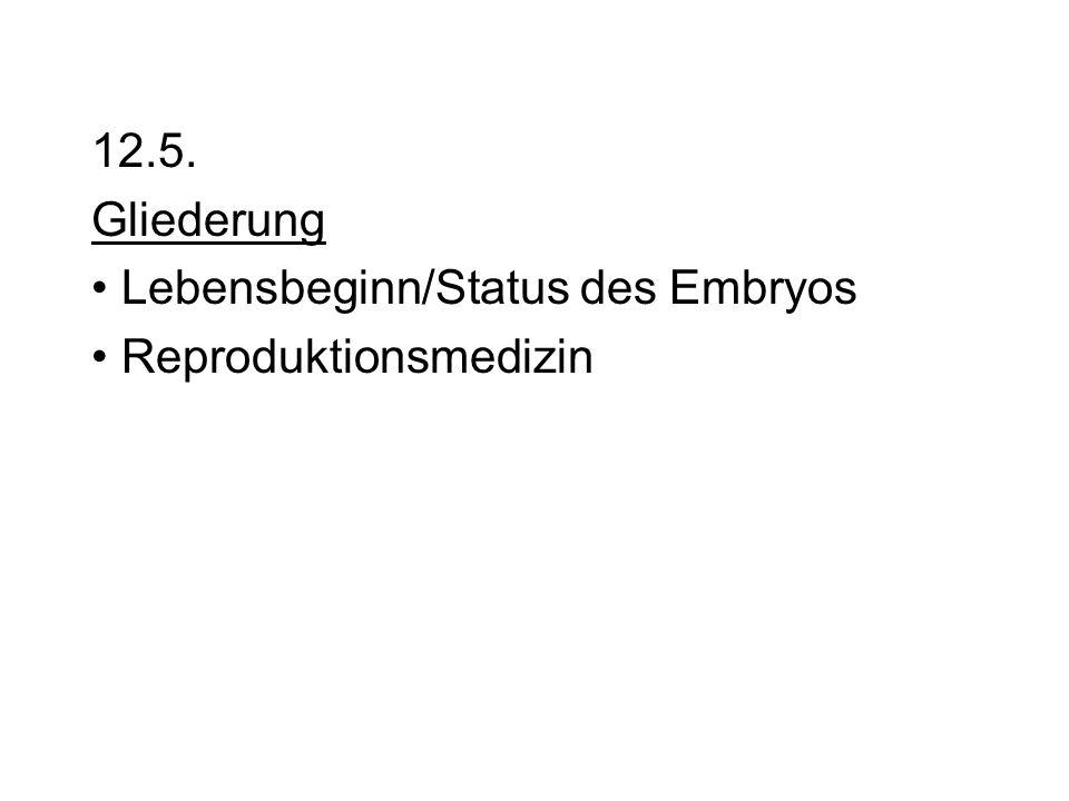 12.5. Gliederung Lebensbeginn/Status des Embryos Reproduktionsmedizin