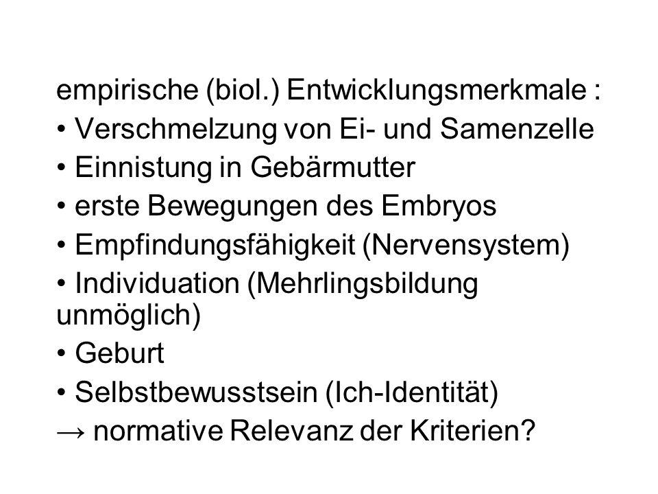 empirische (biol.) Entwicklungsmerkmale :