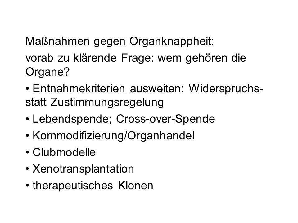 Maßnahmen gegen Organknappheit: