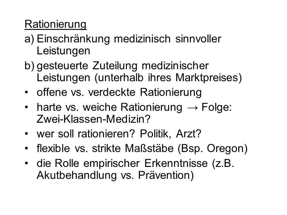 Rationierung Einschränkung medizinisch sinnvoller Leistungen. gesteuerte Zuteilung medizinischer Leistungen (unterhalb ihres Marktpreises)