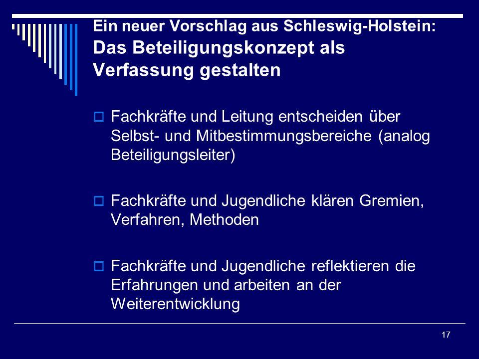 Ein neuer Vorschlag aus Schleswig-Holstein: Das Beteiligungskonzept als Verfassung gestalten