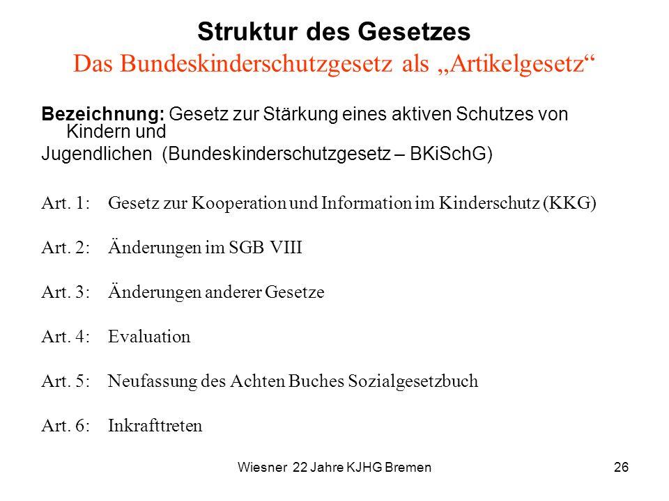 """Struktur des Gesetzes Das Bundeskinderschutzgesetz als """"Artikelgesetz"""