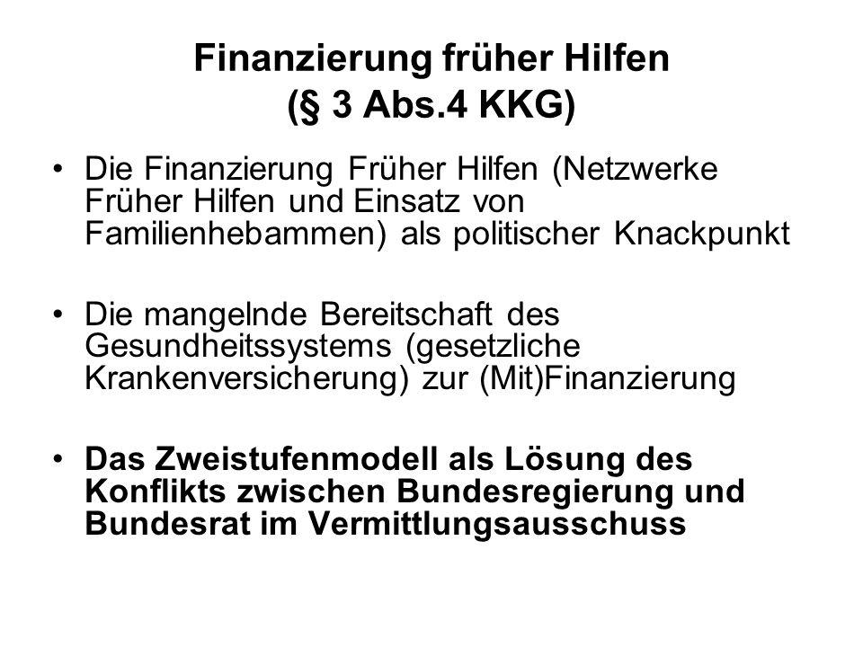 Finanzierung früher Hilfen (§ 3 Abs.4 KKG)