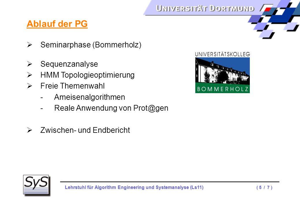 Ablauf der PG Seminarphase (Bommerholz) Sequenzanalyse
