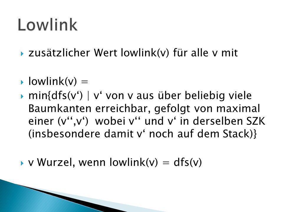 Lowlink zusätzlicher Wert lowlink(v) für alle v mit lowlink(v) =