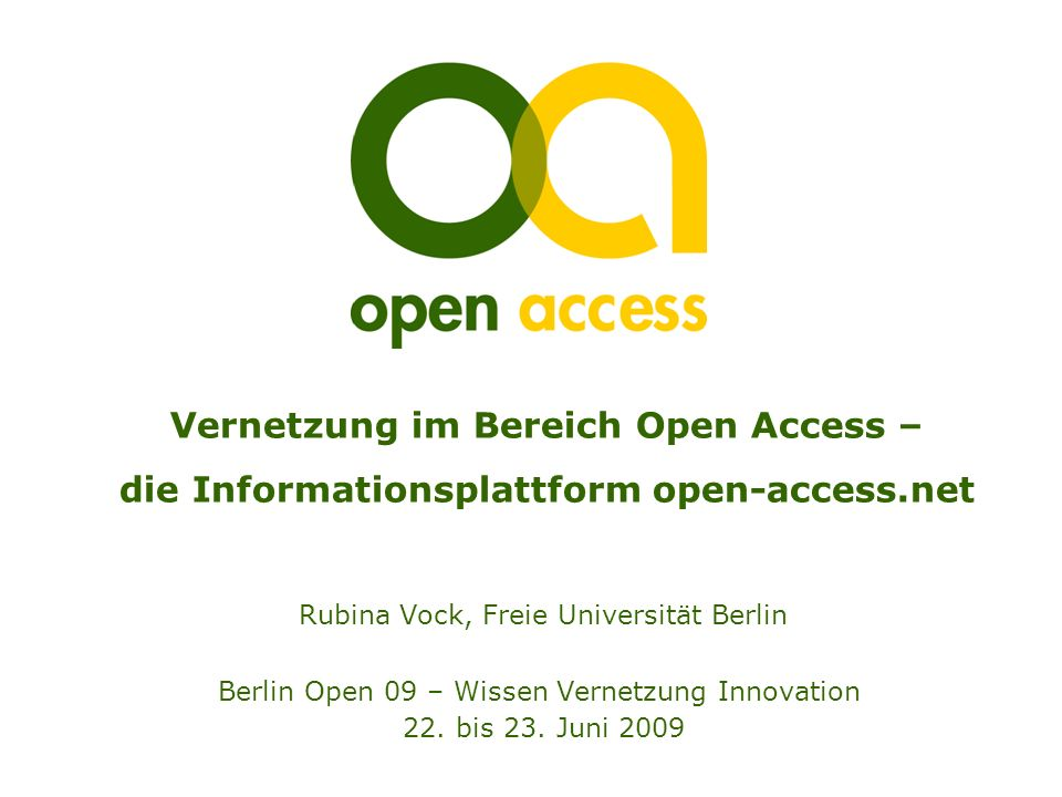 Vernetzung im Bereich Open Access – die Informationsplattform open-access.net