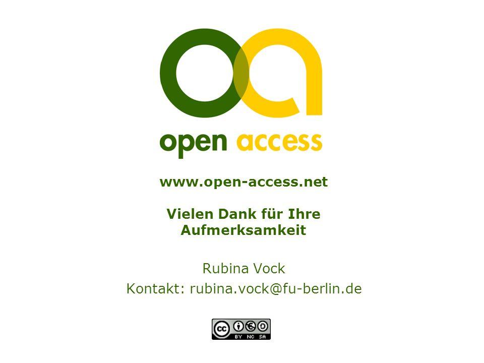 www.open-access.net Vielen Dank für Ihre Aufmerksamkeit