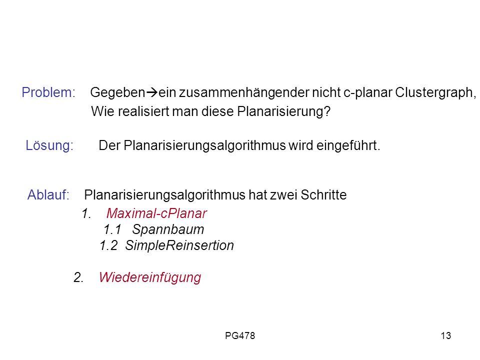 Ablauf: Planarisierungsalgorithmus hat zwei Schritte