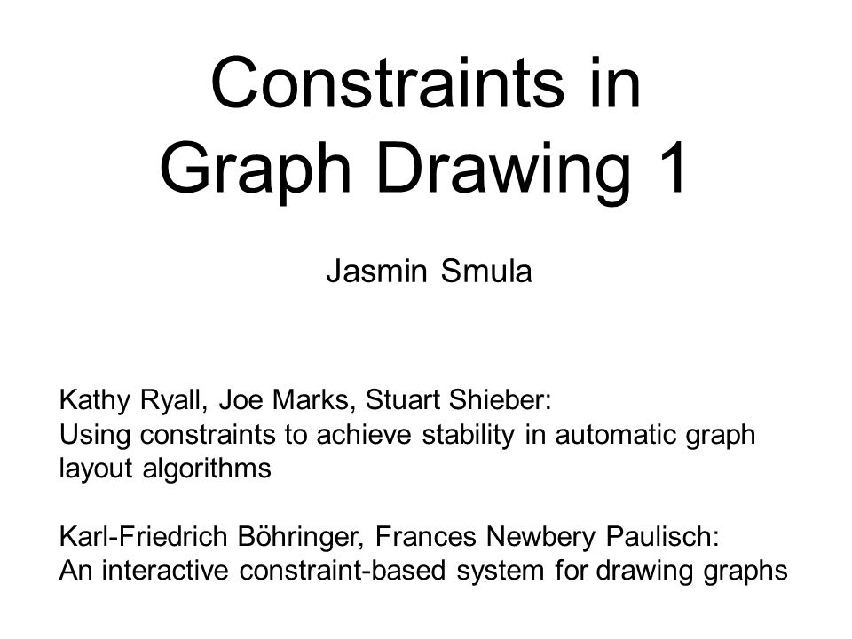 Constraints in Graph Drawing 1