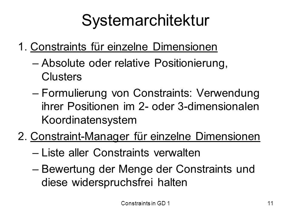 Systemarchitektur 1. Constraints für einzelne Dimensionen