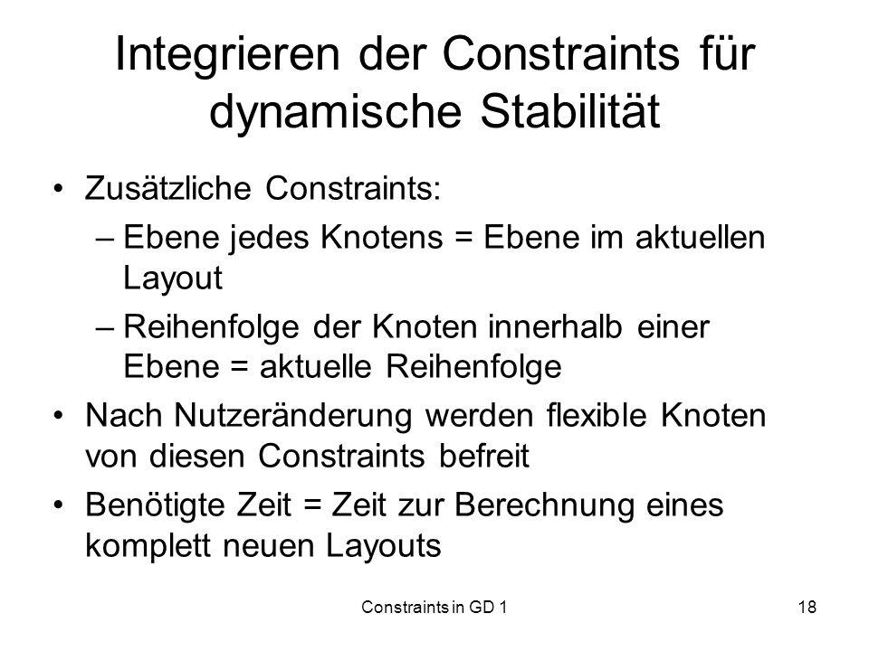 Integrieren der Constraints für dynamische Stabilität