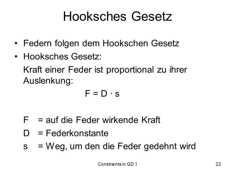 Hooksches Gesetz Federn folgen dem Hookschen Gesetz Hooksches Gesetz: