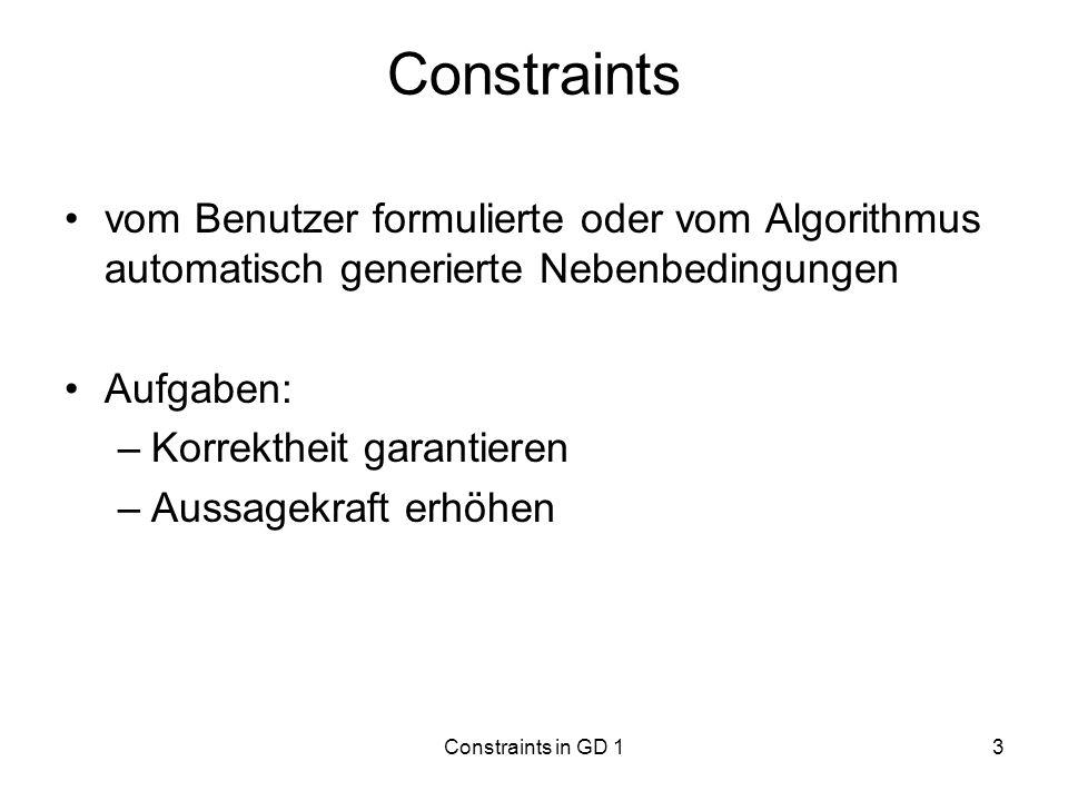 Constraintsvom Benutzer formulierte oder vom Algorithmus automatisch generierte Nebenbedingungen. Aufgaben: