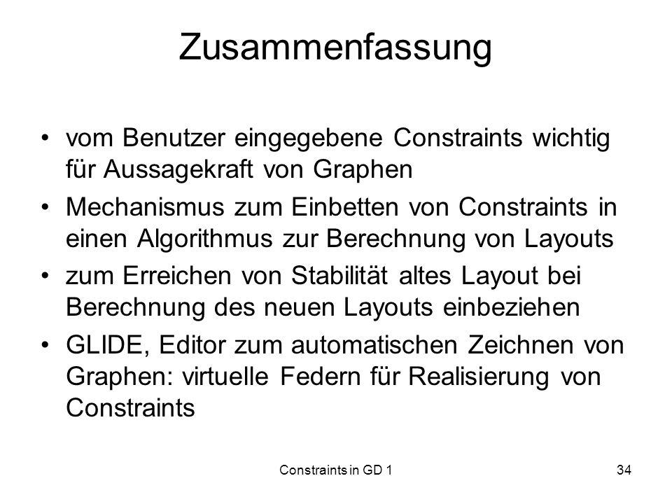 Zusammenfassung vom Benutzer eingegebene Constraints wichtig für Aussagekraft von Graphen.