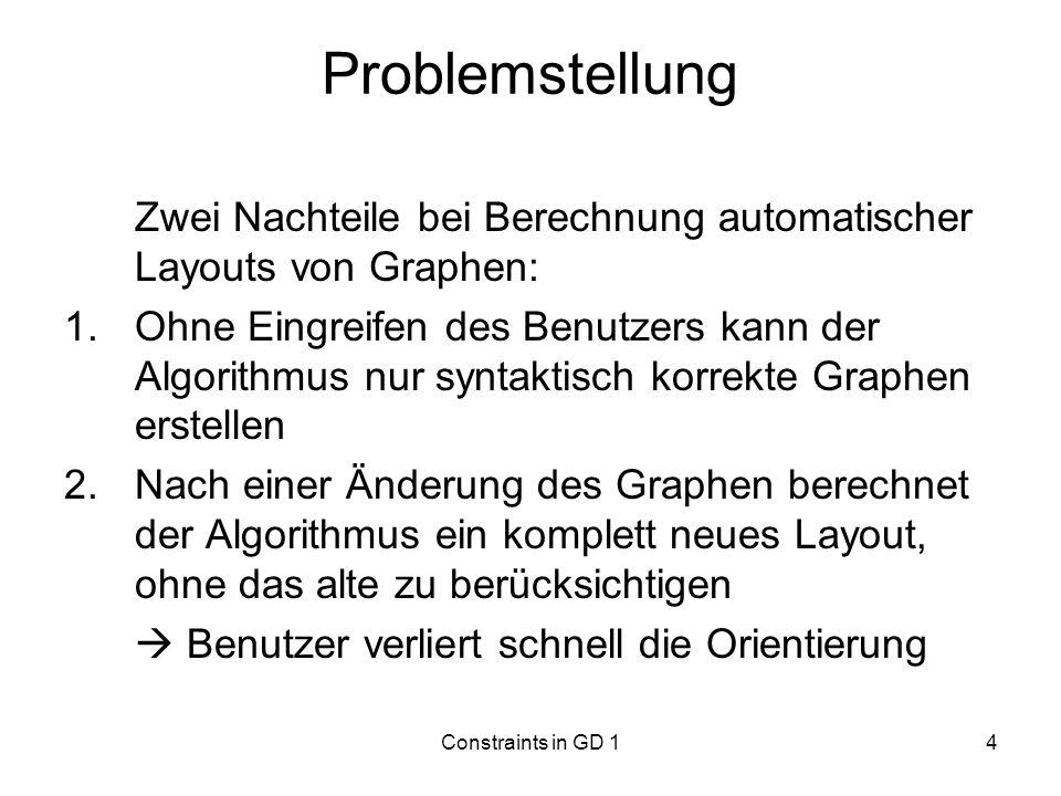 Problemstellung Zwei Nachteile bei Berechnung automatischer Layouts von Graphen: